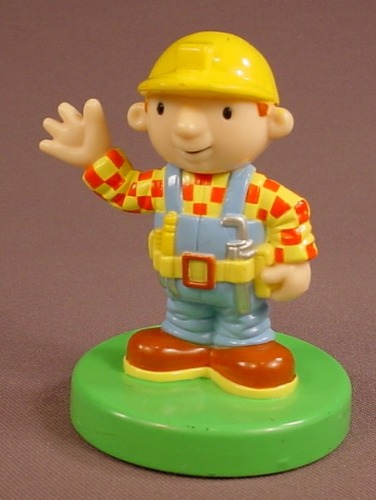 Bob The Builder Waving His Hand PVC Figure On A Stamp Base, Figural Stamp, 3 3/8 Inches Tall