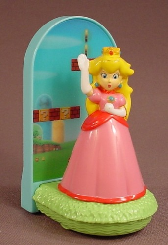 Super Mario Bros Princess Peach Toy, 4 Inches Tall, 2017 McDonalds, She Spins As It Rills