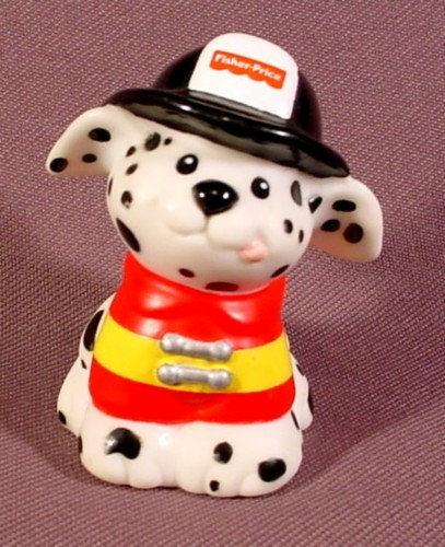 Fisher Price Little People 1998 Smokey Dalmatian Firehouse Dog Black Firefighter Hat - RONS ...