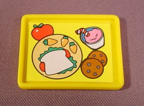 Fisher Price Little People Yellow Rectangular Food Tray, Litho Has Sandwich Cookies
