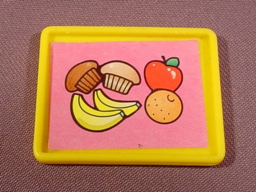 Fisher Price Little People Yellow Rectangular Food Tray, Litho Has Banana Apple