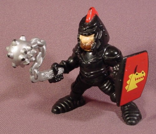 Fisher Price 1994 Black Knight With Chain Mace & Shield, 7710 77710 Great Adventures Castle ...