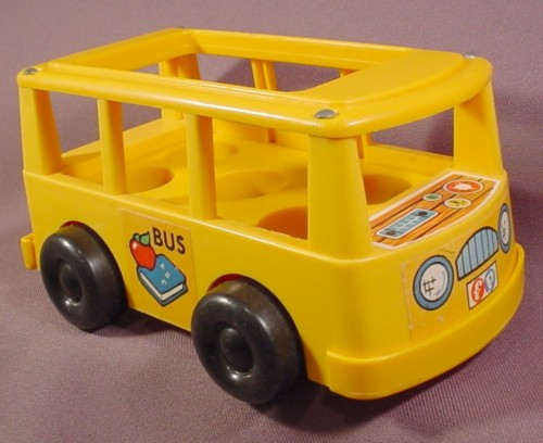 fisher price vintage yellow mini school bus van floor moves up and down 929 rons rescued. Black Bedroom Furniture Sets. Home Design Ideas