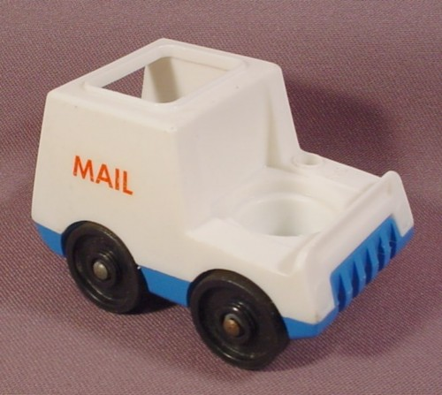 "Fisher Price Vintage Mail Truck, Red  ""Mail"" On The Side, Open Roof, 997 Play Family Village, 2500"