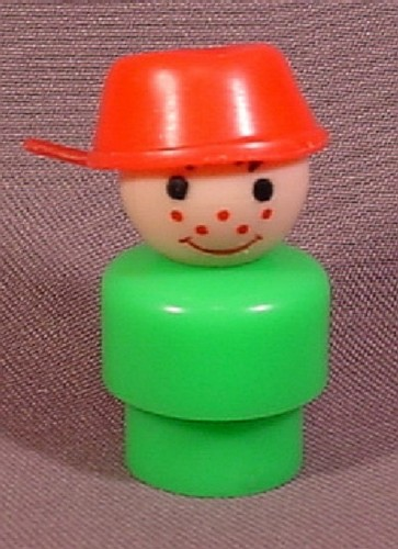 fisher price vintage freckle faced boy in red pot hat a green body 192 school bus rons. Black Bedroom Furniture Sets. Home Design Ideas