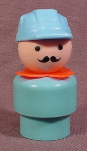 Fisher Price Vintage Train Engineer Moustache, Blue Grey Body, 991 2581, Circus Train