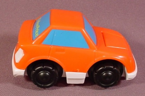 Fisher Price Flip Track Orange Car With Blue Windows