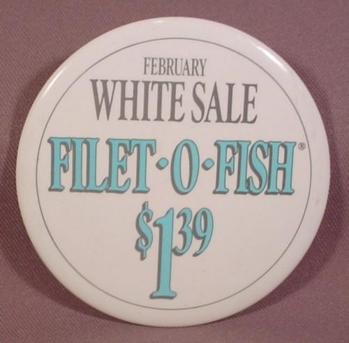 Pinback button 3 1 2 round mcdonalds february white sale for Mcdonald s filet o fish price
