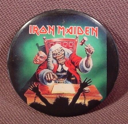"Pinback Button 1 1/2"" Round, Iron Maiden, Hard Rock, Heavy Metal, Music"