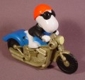 "Burger King Snoopy On Motorcycle Toy, 3 1/2"" Tall, Makes Clicking Sound"