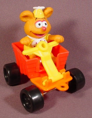 Mcdonalds 1990 Muppet Babies Fozzie Bear PVC Figure With His Wagon