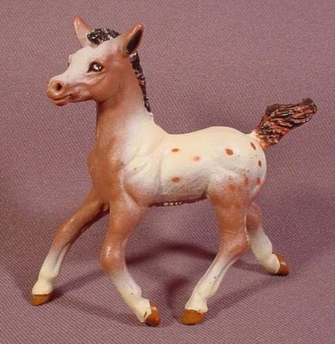 "Solid PVC Brown & White Baby Horse Foal Animal Figure, 3 1/4"" Tall, 1997 Safari Ltd"
