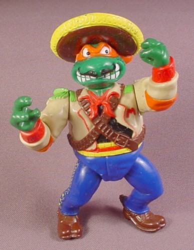 Tmnt Bandito-Bashin Mike Action Figure, 1992 Playmates, Wacky Wild West Series