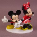 Disney Mickey Mouse Kissing Minnie's Hand PVC Figures On Base , 3 1/8