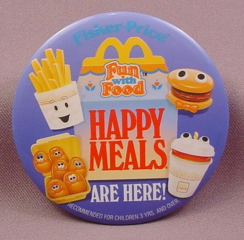"Pinback Button 3 1/2"" Round, Mcdonalds, Fisher Price Fun With Food"
