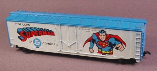Tyco Ho Scale Superman Box Car, &quot;Follow Superman In Dc Comics&quot;, #368-A, 1977
