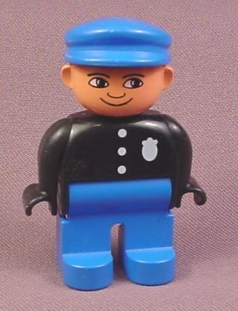 Lego Duplo 4555 Male Articulated Figure, Police Badge, Blue Hat, Black Shirt