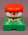 Lego Duplo 2327 Short Bust Green Clown Figure With Yellow Collar & Red Hair