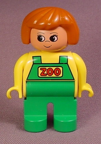 Lego Duplo 4555 Female Articulated Figure, Green Overalls With Zoo Text, Brown Hair