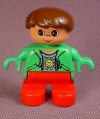 Lego Duplo 6543 Boy Child Articulated Figure Red Legs Green Jacket Smiling Sun Design