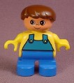 Lego Duplo 6543 Boy Child Articulated Figure, Blue Overalls, Freckles & Brown Hair