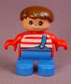 Lego Duplo 6543 Boy Child Articulated Figure, Red & White Striped Shirt, Overalls