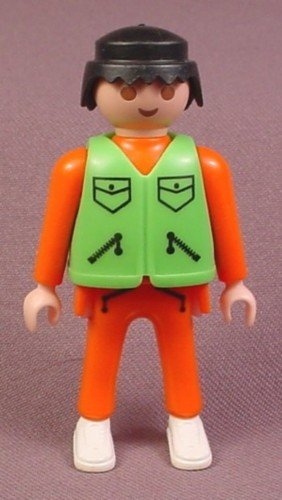 Playmobil Adult Male Figure, Orange Shirt & Pants, Green Safety Vest With Pockets
