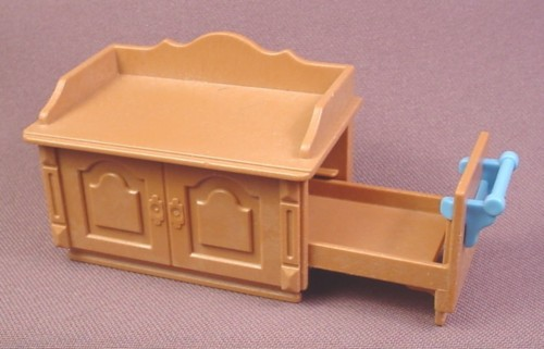 Playmobil brown victorian change changing table slide out for Table playmobil