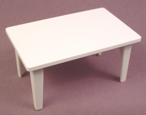 Playmobil white rectangular kitchen table 1 7 8 inches by for Table playmobil