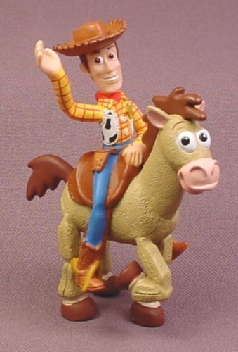 "Disney Toy Story Woody Riding Bullseye Horse PVC Figure, 3 3/8"" tall"
