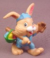Bunny Rabbit with Baseball Glove & Bat PVC Figure, 2 5/8