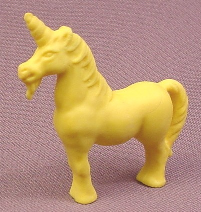 "Vintage Diener Yellow Rubber Unicorn Figure, 2 1/8"" tall"
