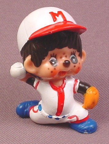 Monchhichi Vintage 1979 PVC Figure, Baseball Player Pitcher Throwing A Ball
