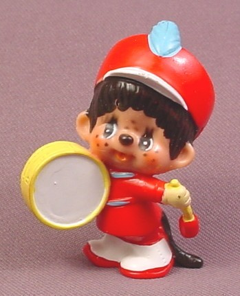 "Monchhichi Vintage 1979 PVC Figure, Marching Band Drum Player, 2 1/2"" tall, Sekiguchi"