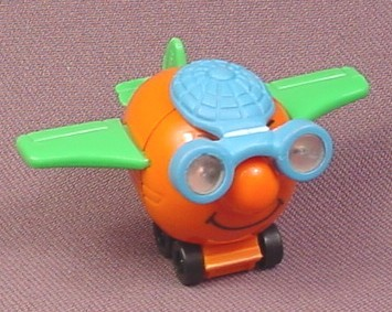 Kinder surprise 1998 orange cartoon airplane with face green wings