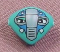 Lego x117px3, Teal Vega Martian Head with Clip, with Blue Mask Pattern, Minifig, 7320 7313 7323