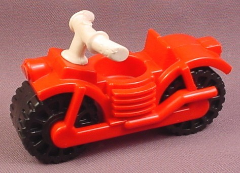 Fisher Price Vintage Red Motorcycle With White Handle Bars