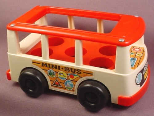 fisher price vintage mini bus or van red roof bumpers white body rons rescued treasures. Black Bedroom Furniture Sets. Home Design Ideas