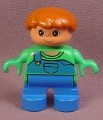 Lego Duplo 6453CX003 Male Child Articulated Figure with Green Shirt & Blue Coveralls, Brown Hair
