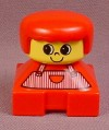 Lego Duplo 2327CX17 Short Bust Figure with Red Shirt with Stripes Pattern, Yellow Face, Red Hair
