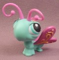 Littlest Pet Shop #355 Teal Blue Butterfly with Purple Wings & Antenna, Gold Trim On Wings