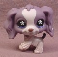 Littlest Pet Shop #1209 Purple & White Cocker Spaniel Puppy Dog with Blue Star Eyes