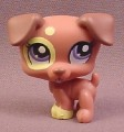 Littlest Pet Shop #1475 Brown Baby Jack Russel Terrier Puppy Dog with Purple Eyes