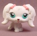 Littlest Pet Shop #65 White Maltese Puppy Dog with Blue Eyes & Pink Bow, 2005 Hasbro