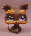 Littlest Pet Shop #509 Dark Brown Yorkie Yorkshire Terrier Puppy Dog with Purple Realistic Eyes