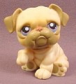 Littlest Pet Shop #135 Tan or Cream Bulldog Puppy Dog with Purple Eyes, 2004 Hasbro