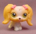 Littlest Pet Shop #79 Tan & White Maltese Puppy Dog with Pink Bows & Green Eyes, 2004 Hasbro