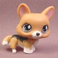 Littlest Pet Shop #639 Brown Corgi Puppy Dog with Black Back & Blue Eyes, 2007 Hasbro