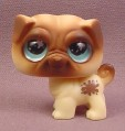 Littlest Pet Shop #623 Brown & Tan Pug Puppy Dog with Big Blue Eyes, 2007 Hasbro