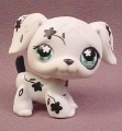 Littlest Pet Shop #469 Black & White Flower Pattern Dalmatian Puppy Dog with Green Eyes, 2007